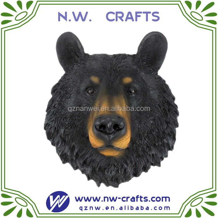 Black Bear Face Mini Bust Wall Hanging rustic wall sculptures