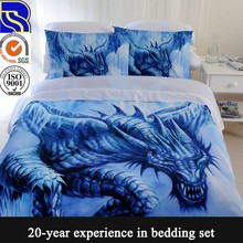 China supplier custom design 100% cotton adult dragon bedding set