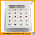 New attractive design 925 sterling silver six stones flower color straight nose rings NSR1047