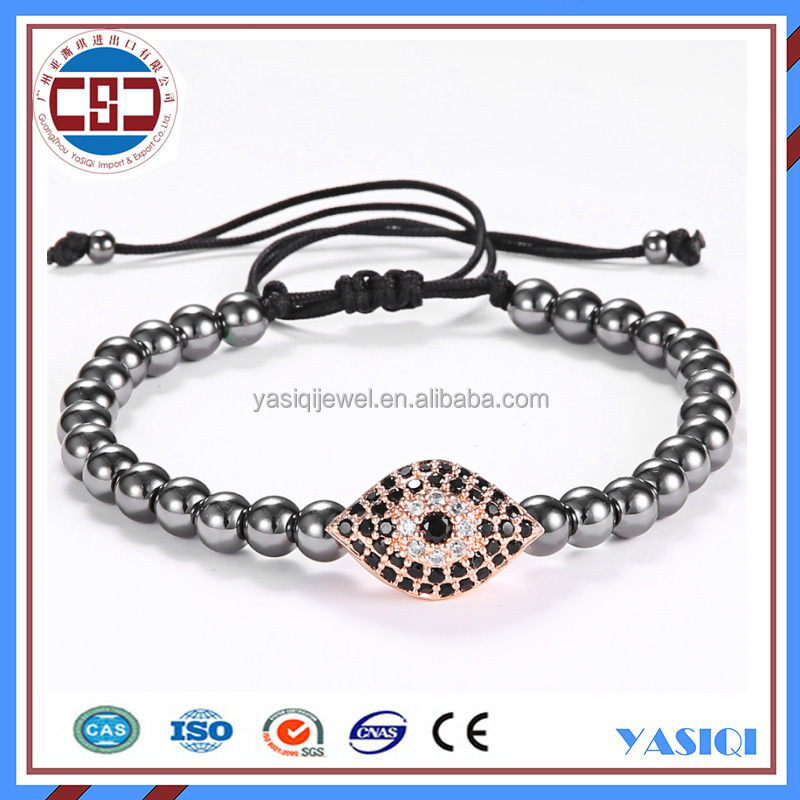 Round beads Evil Eye Stainless steel braided macrame weaving bracelets jewelry