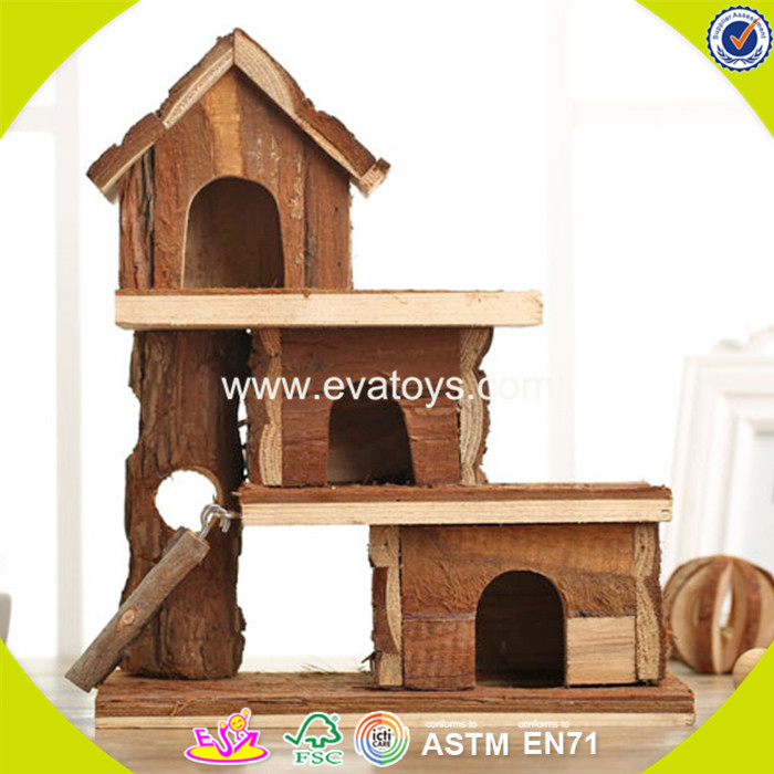 2017 New design wooden hamster pet house mini wooden hamster pet house W06F017