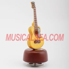 Guitar Shape wooden music box with custom music and Handcranked Play Power wood music box