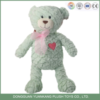 35cm elegant low price green color plush teddy bear toy