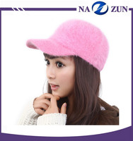 Fashion ladies winter bow shape colorful rabbit fur baseball hat and cap