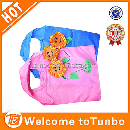 Fashion Foldable Sunflower Shopping Bag Reusable 190T Polyester Fabric flower shopping bags