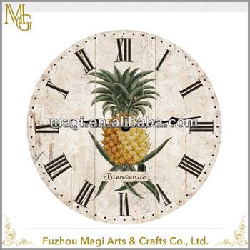 Popular round Bienvenue Pineapple Yellow wall clock antique