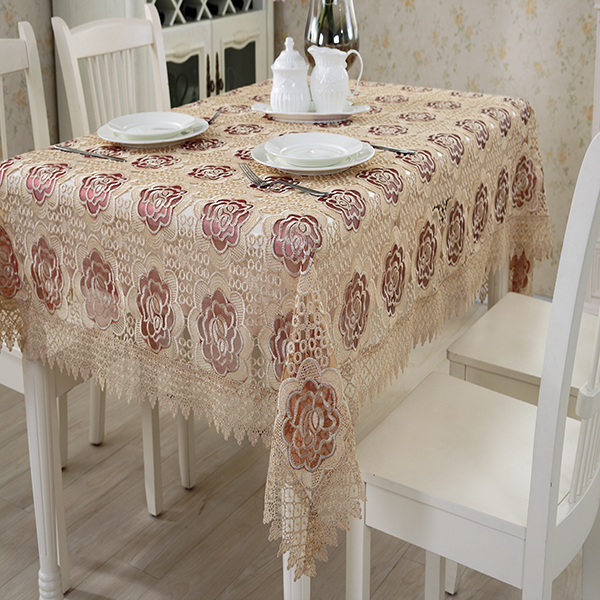 Made in China high quality embroidered flowers Wholesale sequin tablecloths