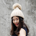 CX-C-237B 2017 New Design 13 CM Genuine Raccoon Fur Balls Hats Knitted Wool Winter Hats