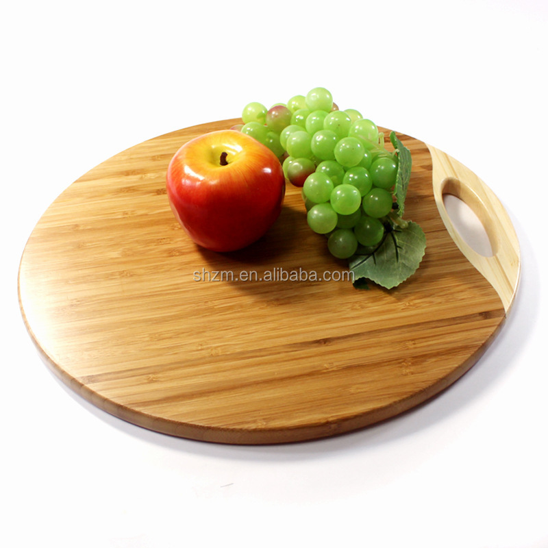 Kitchen Round Organic Bamboo Cutting Board with Handle Natural Round Wood Bamboo Reversible Platter Cutting Board