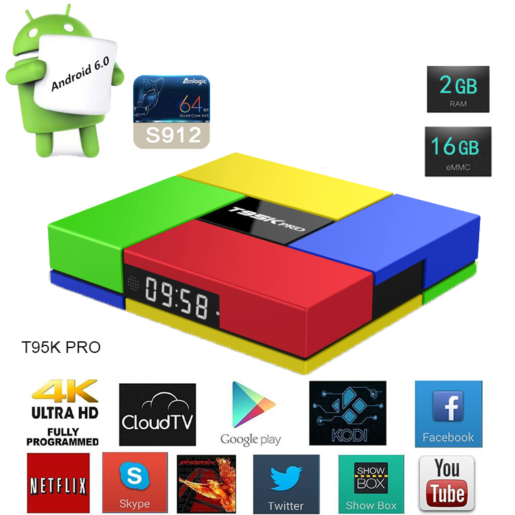 T95K PRO Android 6.0 Amlogic S912 android tv box octa core with Dual Band Wifi and Kodi Fully Loaded 4k