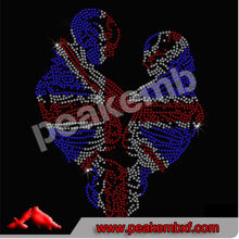 Transferencias Belleza Union Jack Skull Heart Rhinestone Haga Iron On