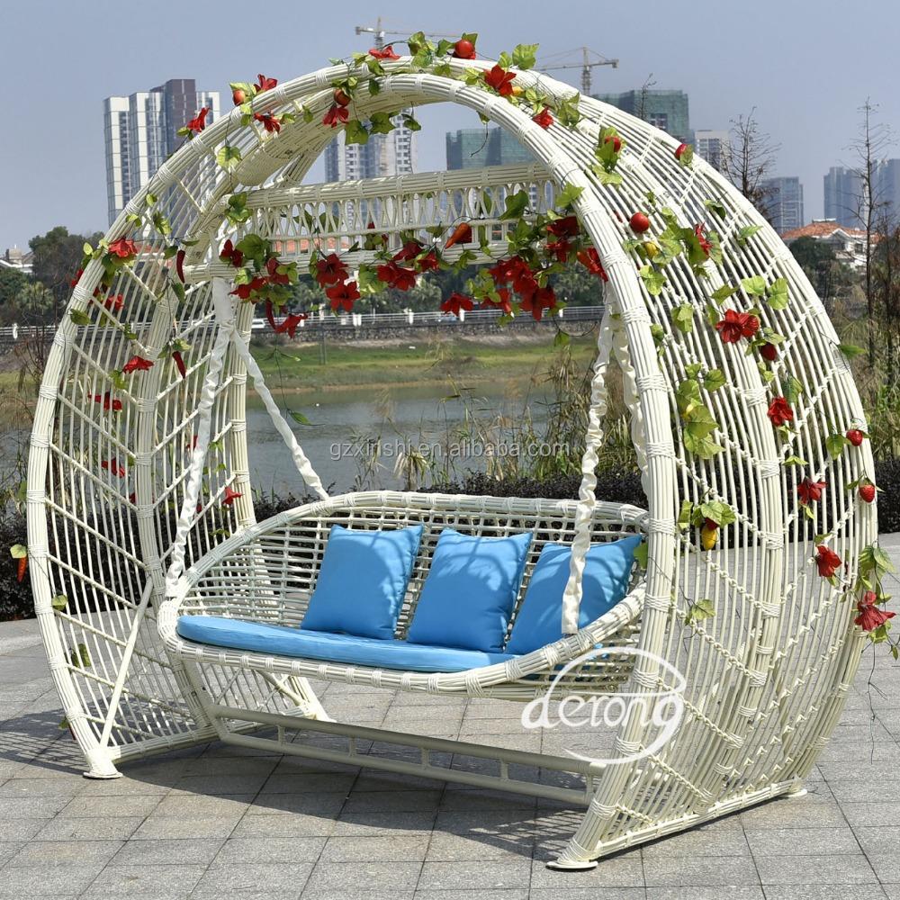 2016 hot sale good quality white rattan patio garden swing. Black Bedroom Furniture Sets. Home Design Ideas