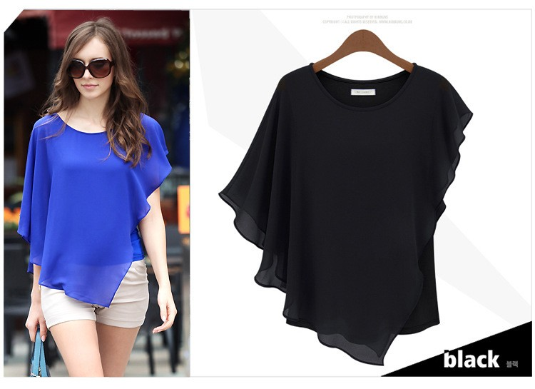 China Top 100 Brand Asymmetry Chiffon Blouse Images Ladies Casual Tops