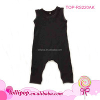 2016 In stock USA apparel black cute sleeveless cotton girls romper wholesale baby girls clothes long leg baby body sleep suit