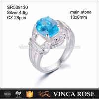 Express ali jewelry shiny blue CZ 925 sun silver ring