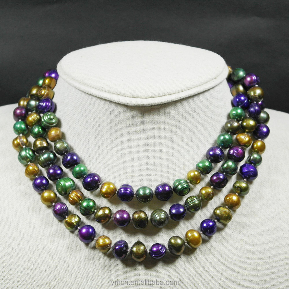 140CM LONG NECKLACE 100% NATURAL FRESHWATER PEARL MIX COLOR,knotted
