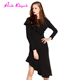 New Chinese Girl Long Sleeves Milk Silk Boutique Maxi Irregular Ruffle Women Cloth Dress