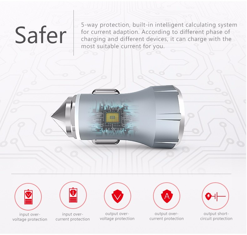 China factory sell Aluminium quick charge QC2.0 car charger