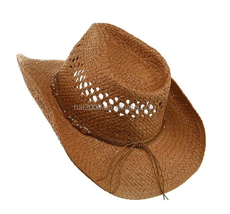 2017 New style fashion western sun cool beach travel floppy wide brim paper straw mens cowboy hats