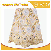 High quality yellow swiss lace material / African organza lace fabric for dinner dress 2016