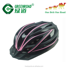 PC EPS in-mold bicycle helmet road bike cycling with LED lights in the rear parts