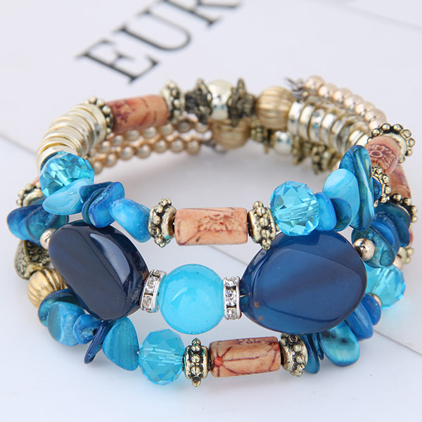 Fashion stock beads bracelets mixed colors WY150622100