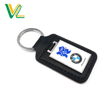 Tailor made trendy Die Casting Car Brand Nickel O Ring Souvenir leather Keychain