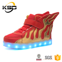 Fashionable Red Wing Kids Sport Shoes 7 Colors Lights LED Shoes