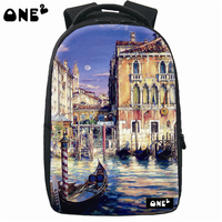 Good quality oil painting pattern school bag custom korean style backpacks