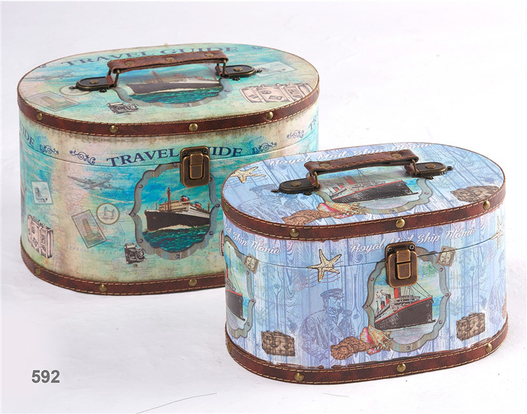 Bulk blue and green ocean pattern decorative leather wooden vintage suitcase set