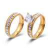 Stainless Steel Women CZ Ring Couple Wedding Ring Set