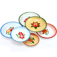 enamel dinner soup rice <strong>plate</strong> with decal for kitchenware and diinerware