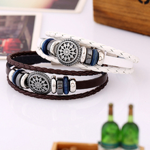 China Wholesale Mens Steel Nautical Anchor Bracelet Jewelry, Genuine Leather Bracelet For Men, Dropshipping Bracelet
