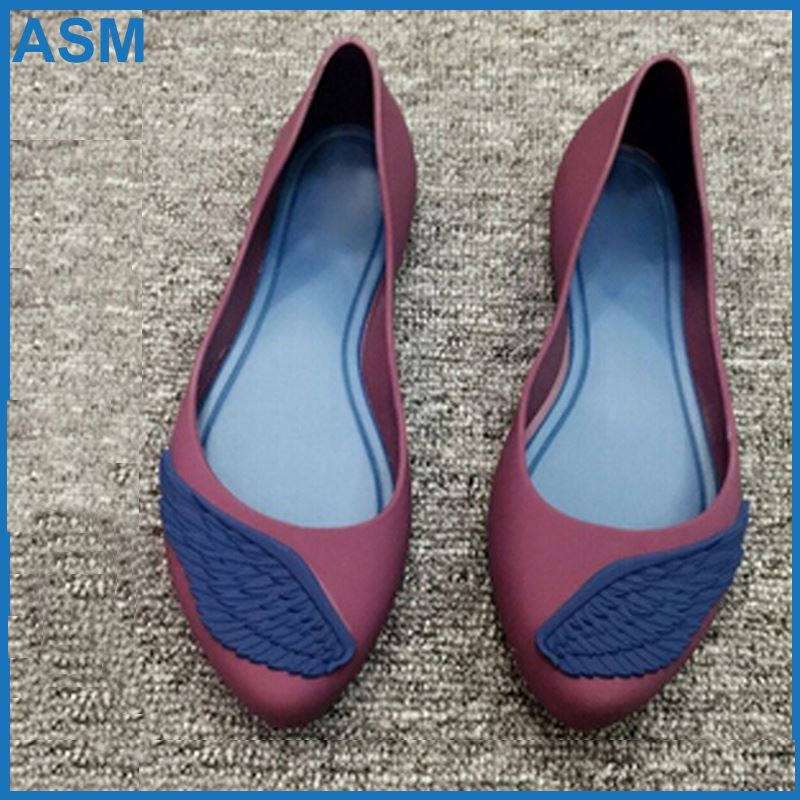 jelly dress shoes high quality women sandals with flocking ,AMS009, fashion pvc blowing shoe