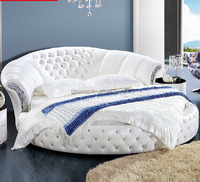 Modern Design Pure White Genuine Leather Round Bed