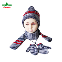 FS-8008 Hot Sell Knit Winter Keep Warm Kids Child Girl Boy Children Women Lady Acrylic Knitted Hat Scarf Gloves Set