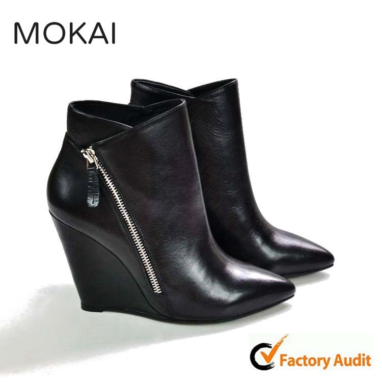 MK137-2 BLACK fashionable chunky heel footwear leather ladies casual shoes