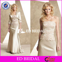 2582 Light Champagne Detachable Jacket Floor Length Vintage Mother Of The Bride Dresses