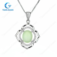 Natural green prehnite gemstone pendant oval main stone flower shape simple style jewelry for woman