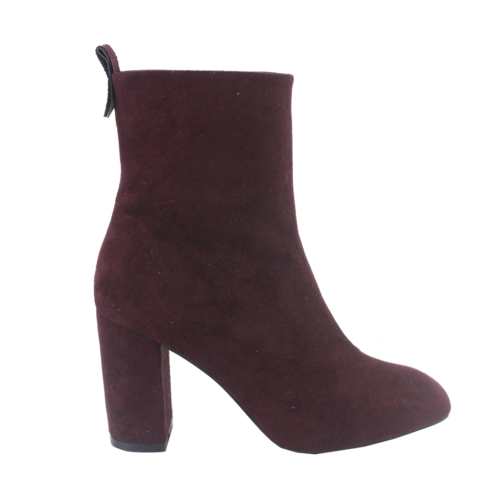 2017 Burgundy Womens Mid Calf Boots with Heel