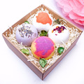 High essence oil dry flower SPA bath fizzer/Luxury moisturizing romantic bombs bath salt fizzer in paper box