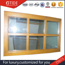 Oak window price wood aluminum profile frame fixed glass windows Wood Finished Aluminum Casement Windows