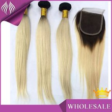 tangle free color 613 blonde hair bundles with lace closure