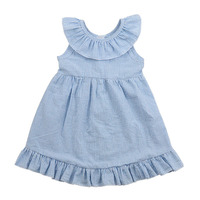 Wholesale kids boutique blue striped ruffle neck frock and frill images 100% cotton seersucker fabric toddler girl dresses