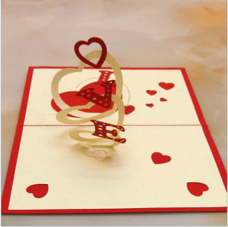 3D Wishing Greeting Card Paper <strong>Crafts</strong> Love for Valentine Lovers handmade decoration greeting card