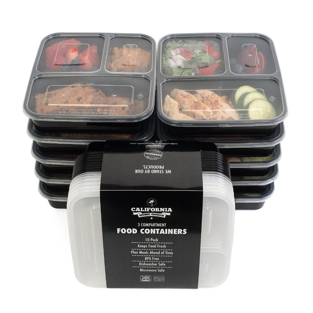 disposable lunch box take away food box 3 compartment microwave food container