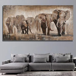 Reproduction from China High Quality Home Decoration Handmade Canvas Wall Art Abstract Elephant Animal Oil Paintings