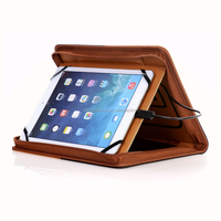 Custom leather organizer universal padfolio for ipad with power bank