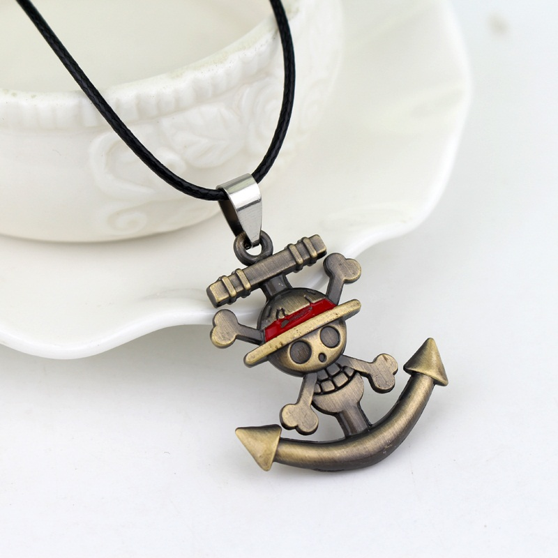 Japanese Anime One Piece Necklace Pirate Luffy Anchor Skull Logo Pendant Necklace Fashion Cosplay <strong>Accessories</strong>