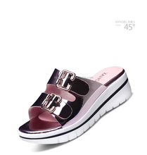 New design women slipper wedge heel metallic button ladies heel shoes sandal